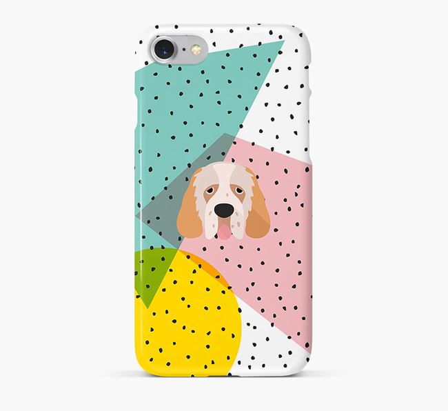 'Geometric' Phone Case with Clumber Spaniel Icon