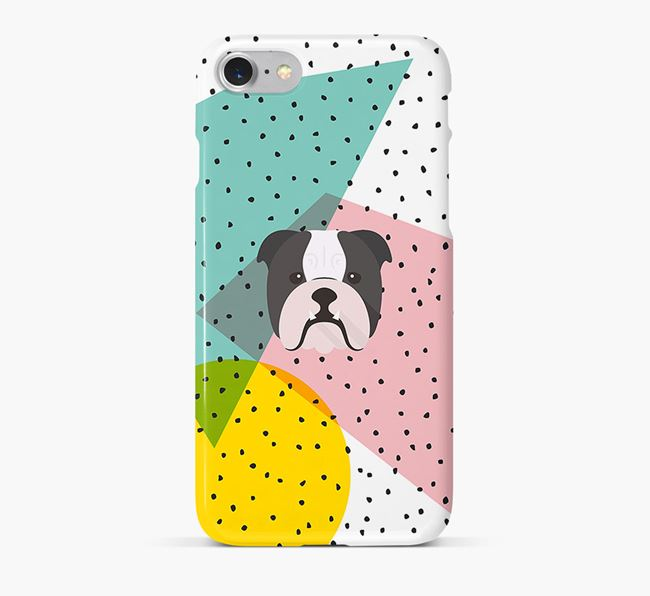 'Geometric' Phone Case with English Bulldog Icon