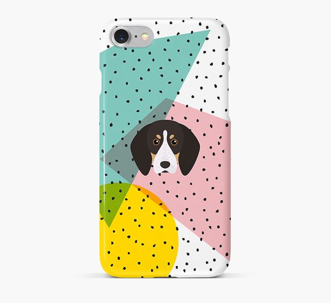 'Geometric' Phone Case with English Coonhound Icon