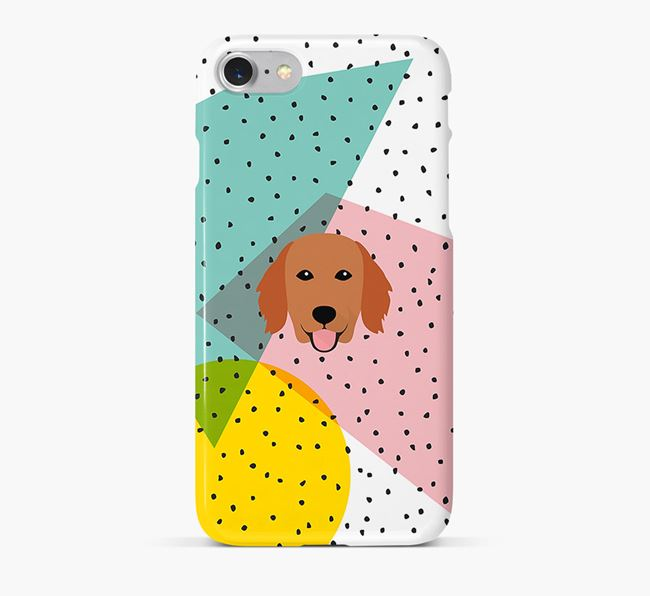 'Geometric' Phone Case with Flat-Coated Retriever Icon