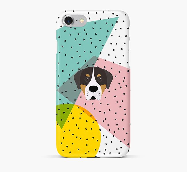 'Geometric' Phone Case with Greater Swiss Mountain Dog Icon