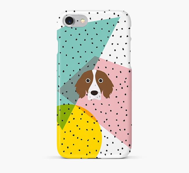 'Geometric' Phone Case with Irish Red & White Setter Icon