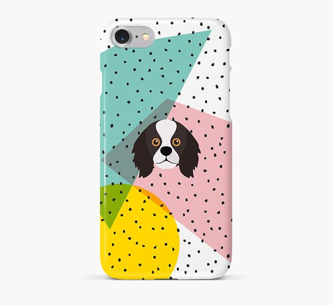 'Geometric' Phone Case with King Charles Spaniel Icon