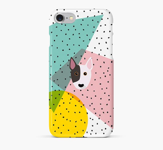 'Geometric' Phone Case with Miniature Bull Terrier Icon
