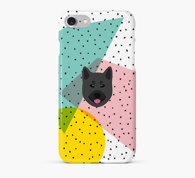'Geometric' Phone Case with Norwegian Elkhound Icon