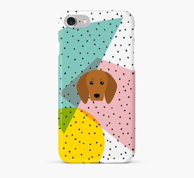 'Geometric' Phone Case with Redbone Coonhound Icon