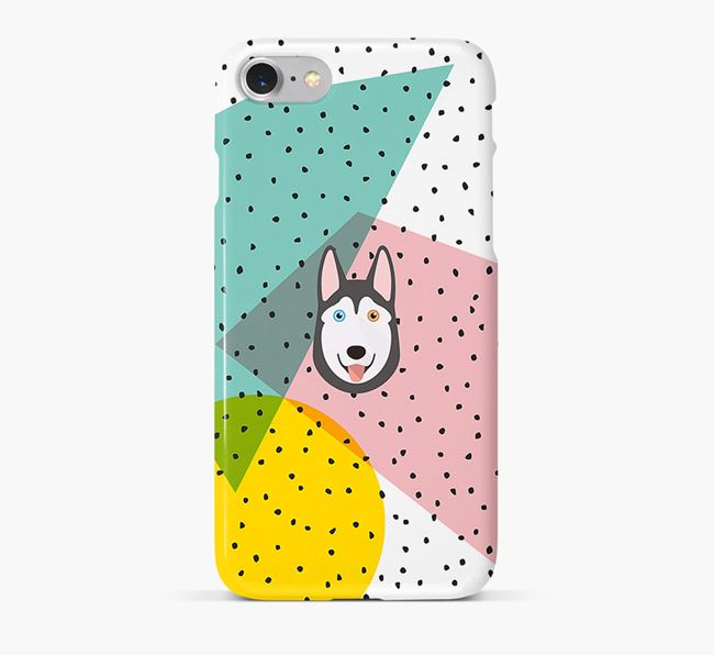'Geometric' Phone Case with Siberian Husky Icon