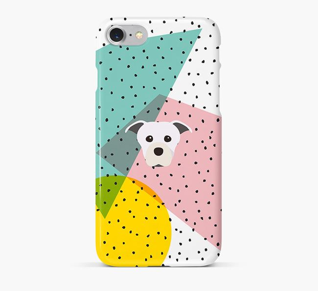 'Geometric' Phone Case with Staffordshire Bull Terrier Icon