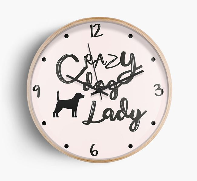 'Crazy Dog Lady' Wall Clock with Beagle Silhouette