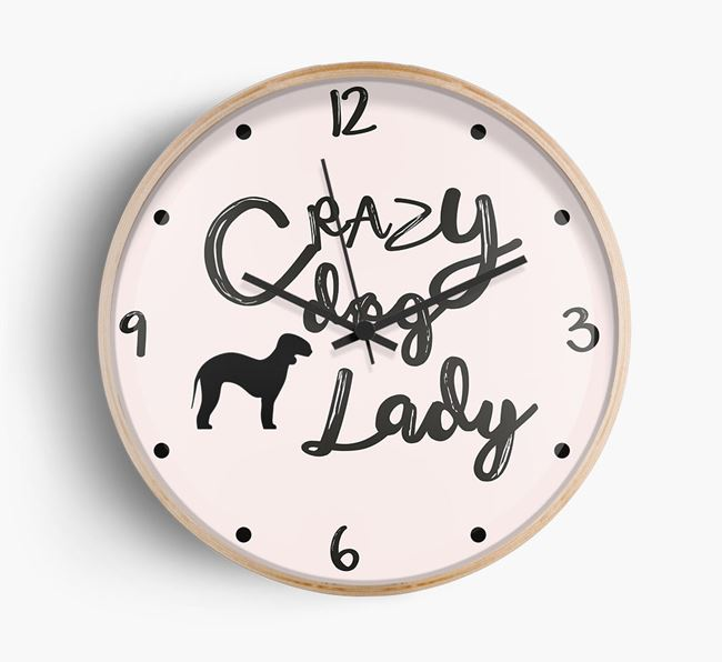 'Crazy Dog Lady' Wall Clock with Bedlington Terrier Silhouette