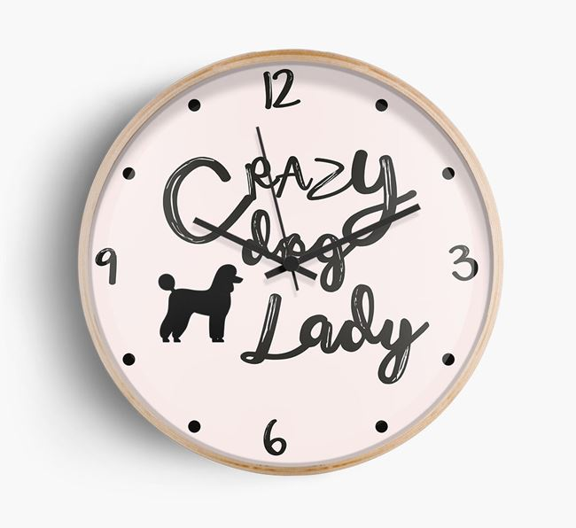 'Crazy Dog Lady' Wall Clock with Poodle Silhouette