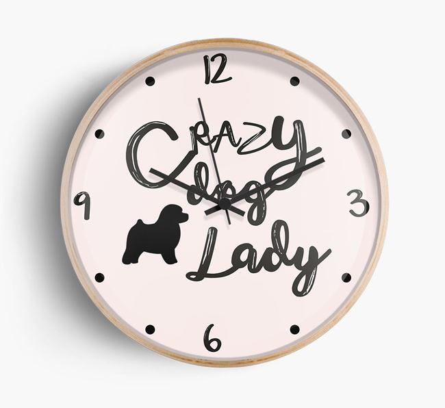'Crazy Dog Lady' Wall Clock with Toy Poodle Silhouette