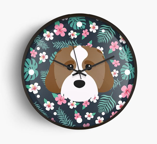 'Floral' - Personalised Wall Clock with Cavachon Icon