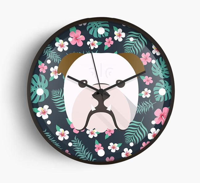 'Floral' - Personalised Wall Clock with English Bulldog Icon