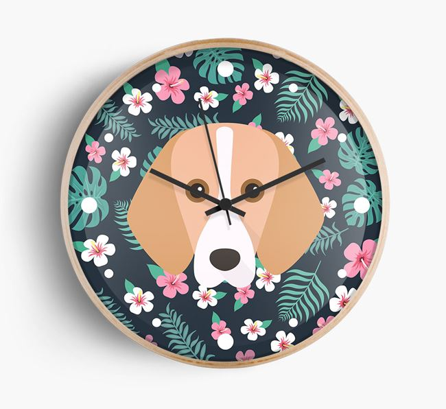 Floral {dogsName} Icon Wall Clock