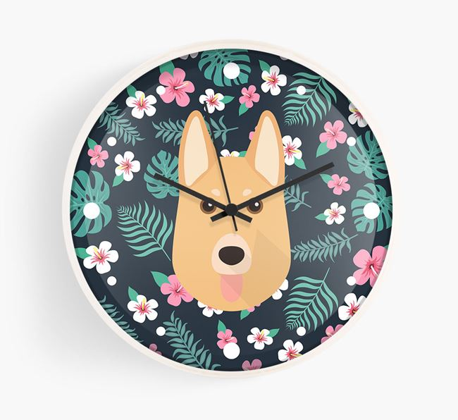 'Floral' - Personalised Wall Clock with German Shepherd Icon