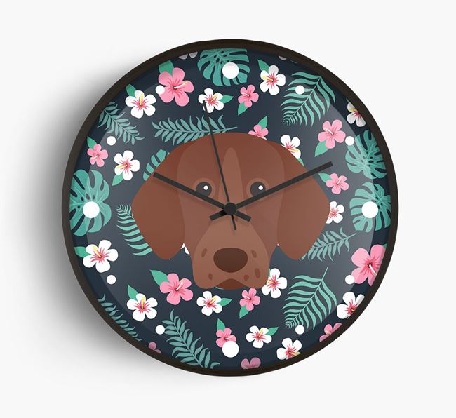 'Floral' - Personalised Wall Clock with German Shorthaired Pointer Icon