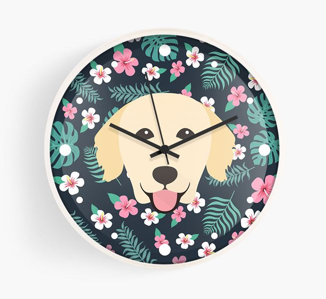 'Floral' - Personalised Wall Clock with Golden Retriever Icon