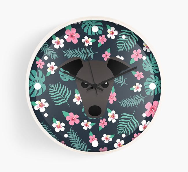 'Floral' - Personalised Wall Clock with Greyhound Icon