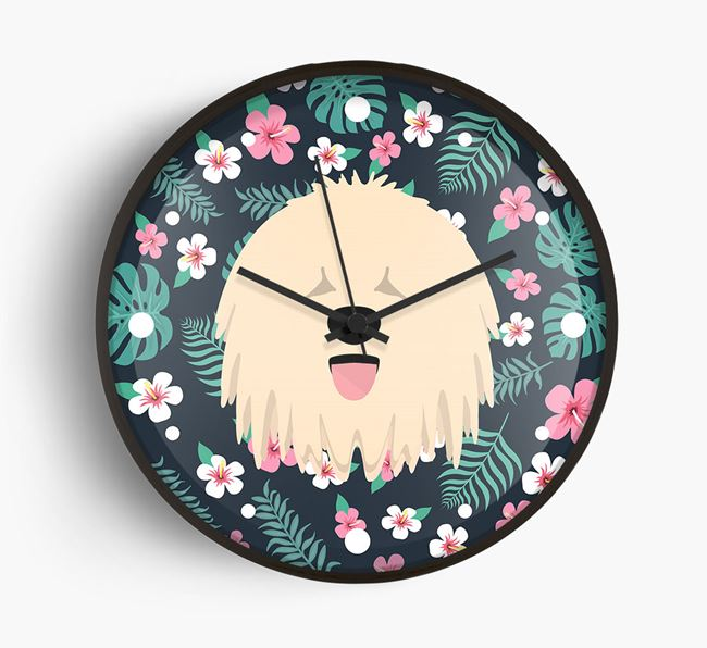 'Floral' - Personalised Wall Clock with Komondor Icon