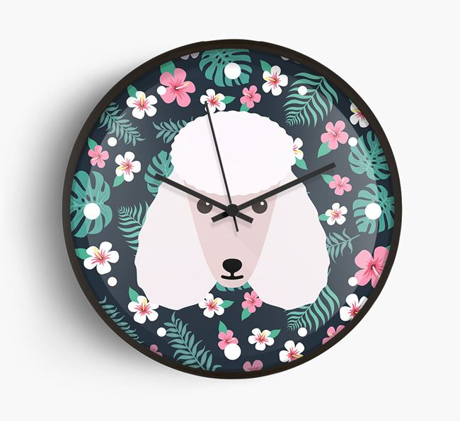 'Floral' - Personalised Wall Clock with Poodle Icon