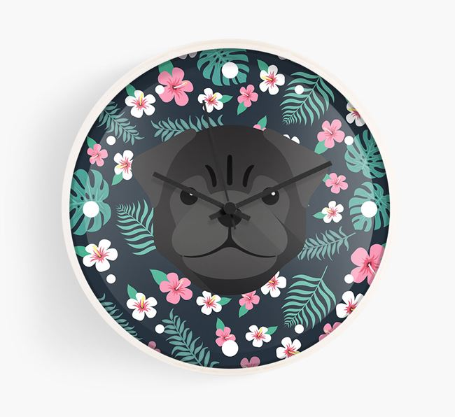 'Floral' - Personalised Wall Clock with Pug Icon