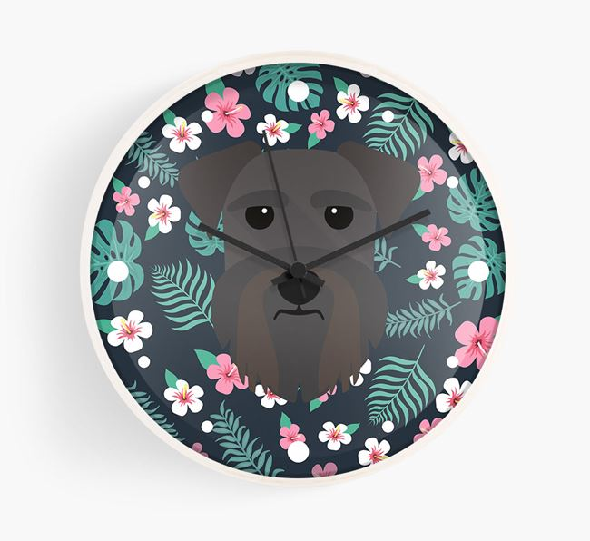 'Floral' - Personalised Wall Clock with Schnauzer Icon