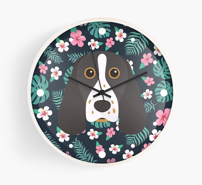 'Floral' - Personalised Wall Clock with Springer Spaniel Icon