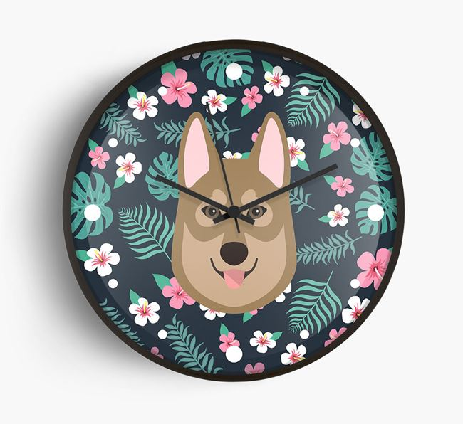 'Floral' - Personalised Wall Clock with Tamaskan Icon