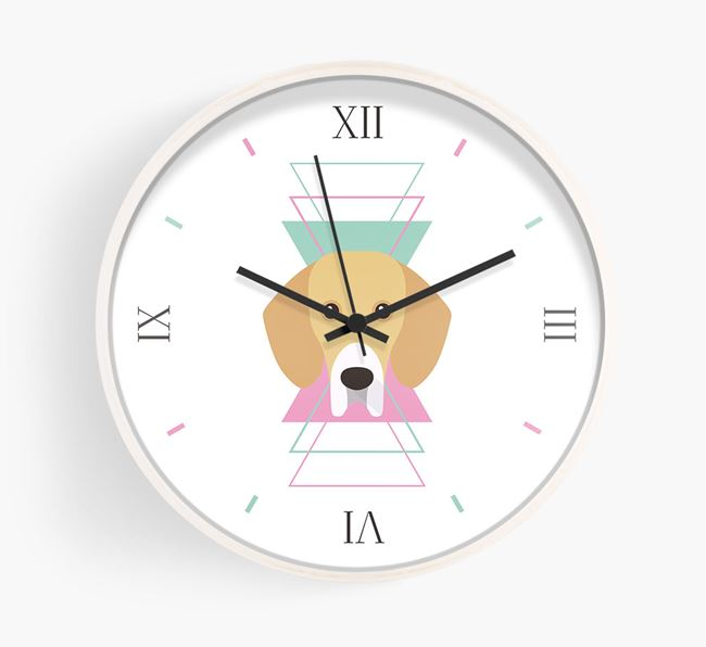 'Geometric' - Personalised Wall Clock with Bassador Icon