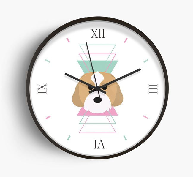 'Geometric' - Personalised Wall Clock with Cavachon Icon