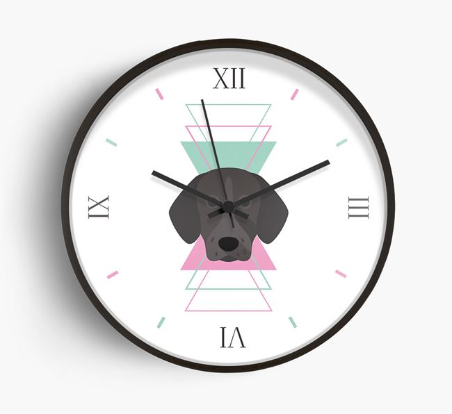 'Geometric' - Personalised Wall Clock with German Shorthaired Pointer Icon