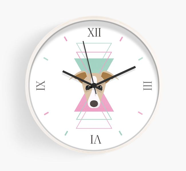 'Geometric' - Personalised Wall Clock with Greyhound Icon