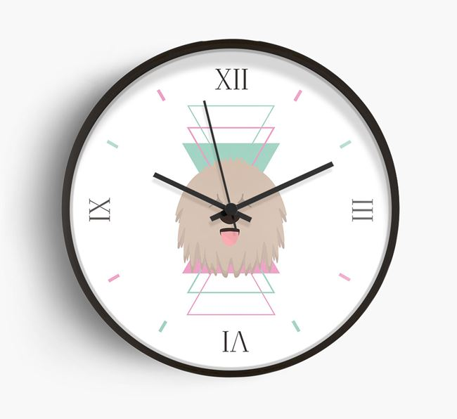 'Geometric' - Personalised Wall Clock with Komondor Icon