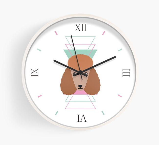 'Geometric' - Personalised Wall Clock with Poodle Icon