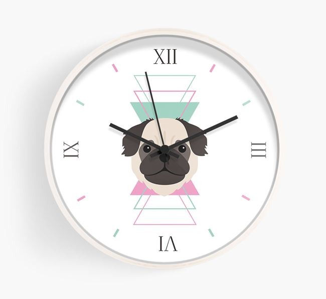 'Geometric' - Personalised Wall Clock with Pug Icon