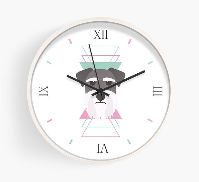 'Geometric' - Personalised Wall Clock with Schnauzer Icon