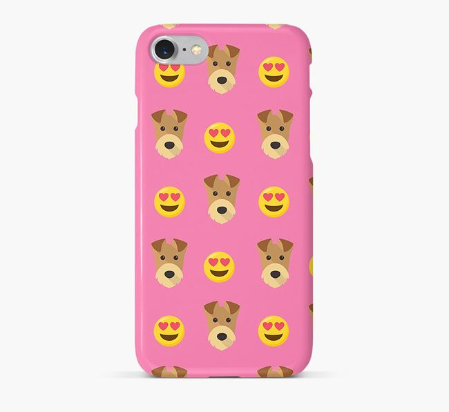 'Heart Eyes' Pattern Phone Case with Airedale Terrier Icon