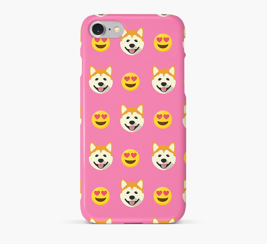 'Heart Eyes' Pattern Phone Case with Akita Icon