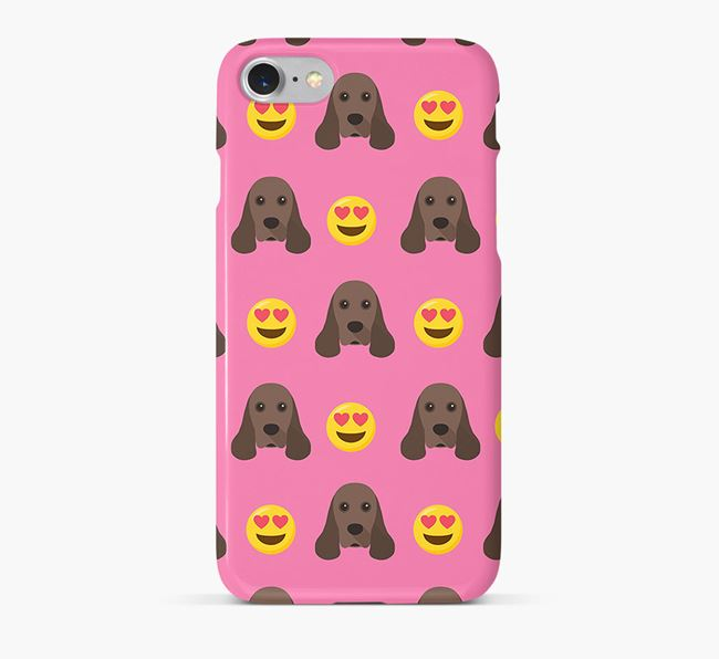 'Heart Eyes' Pattern Phone Case with American Cocker Spaniel Icon