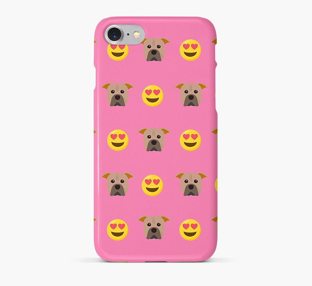 'Heart Eyes' Pattern Phone Case with American Pit Bull Terrier Icon