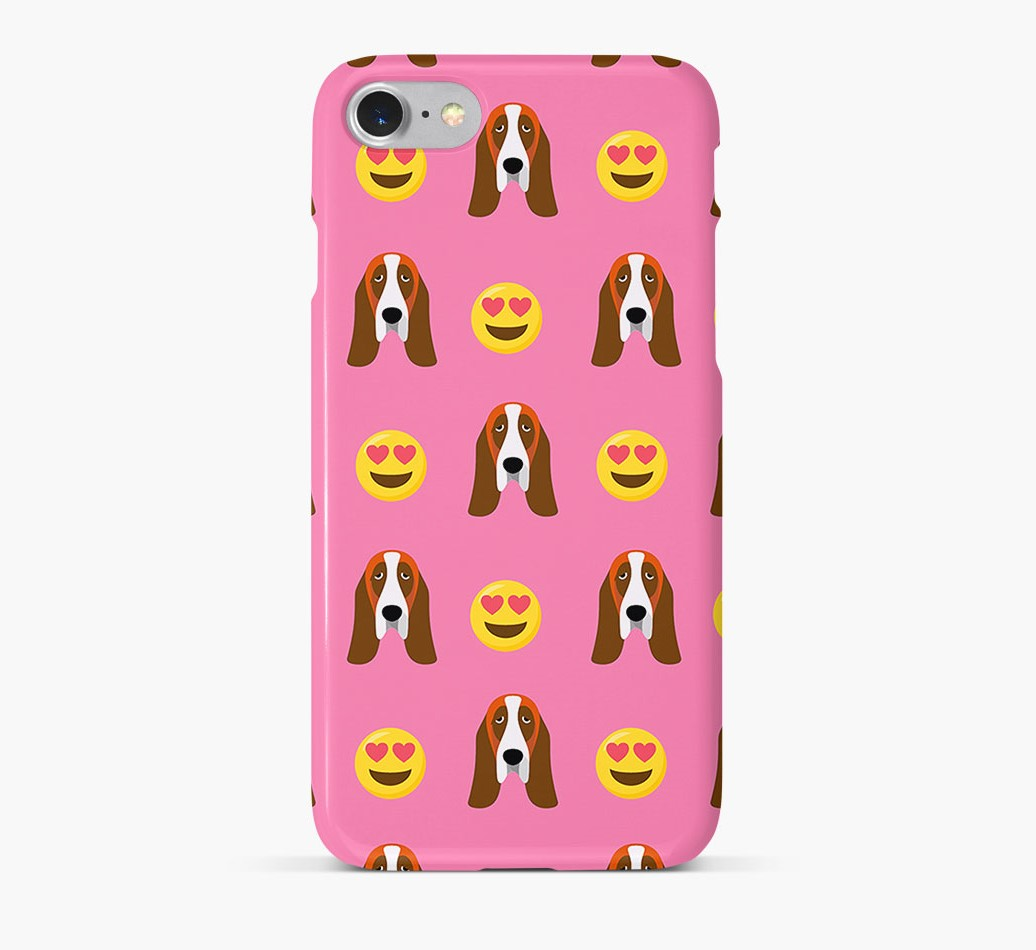 'Heart Eyes' Pattern Phone Case with Basset Hound Icon