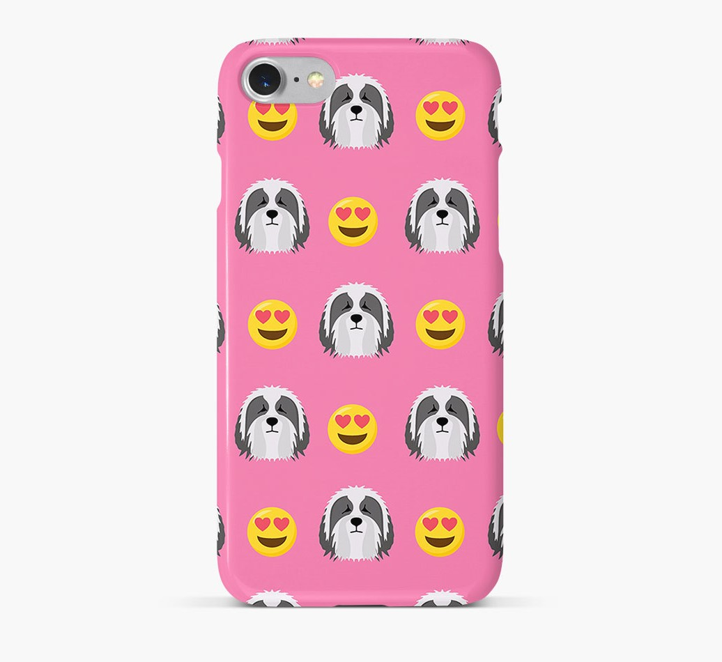 'Heart Eyes' Pattern Phone Case with Bearded Collie Icon