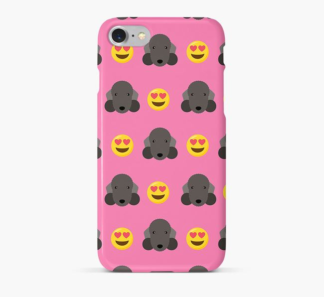 'Heart Eyes' Pattern Phone Case with Bedlington Terrier Icon
