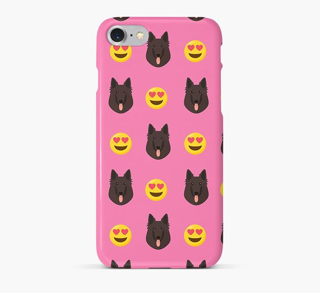 'Heart Eyes' Pattern Phone Case with Belgian Groenendael Icon