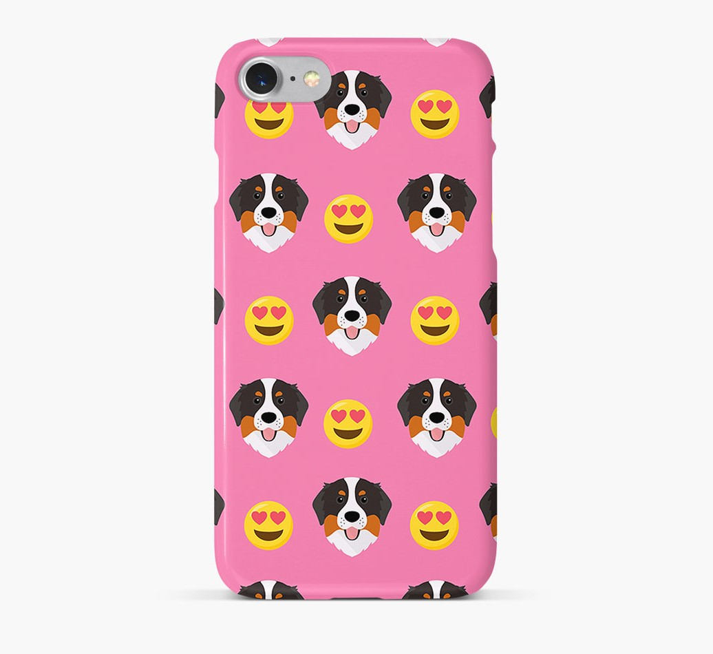'Heart Eyes' Pattern Phone Case with Bernese Mountain Dog Icon