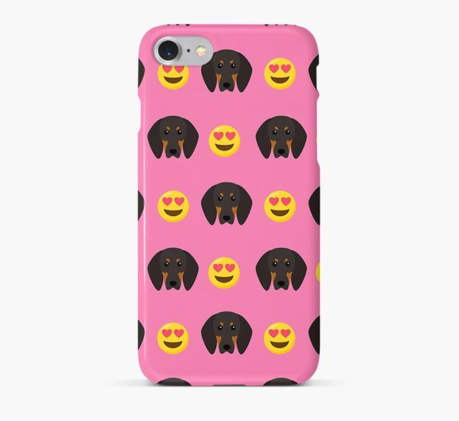 'Heart Eyes' Pattern Phone Case with Black and Tan Coonhound Icon