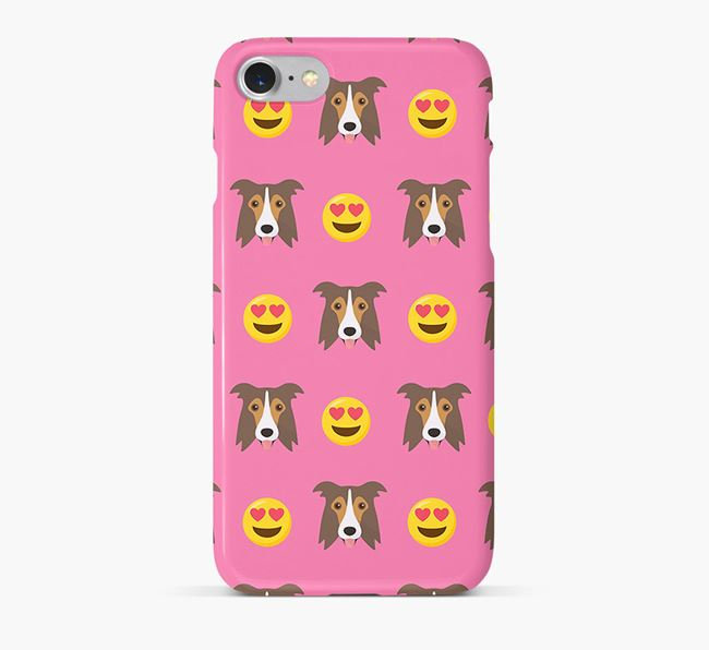 'Heart Eyes' Pattern Phone Case with Border Collie Icon