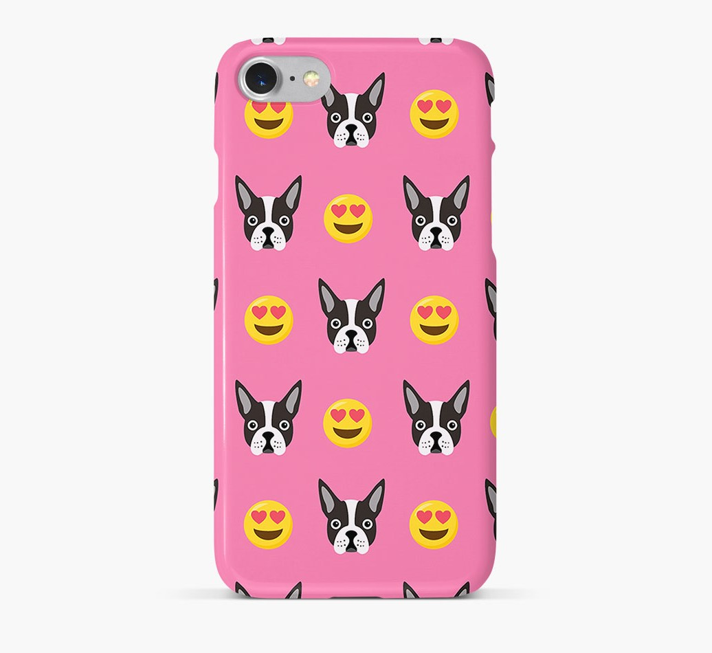 'Heart Eyes' Pattern Phone Case with Boston Terrier Icon