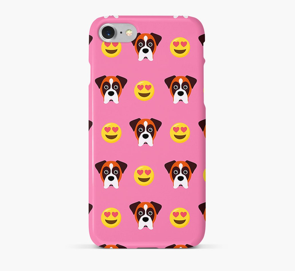 'Heart Eyes' Pattern Phone Case with Boxer Icon